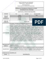 Infome Programa de Formación Titulada (1) Gestión de La Producción Industrial