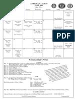 Legion Post 160 Calendar May 2014