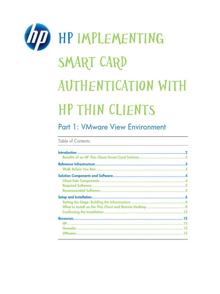 HP Thin Client Smart Card Support White Paper | Remote Desktop