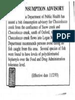Fish Consumption Advisory 1993