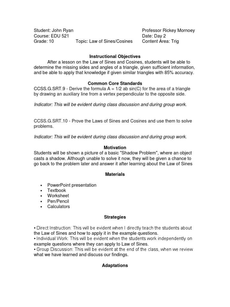 Edu 521 Lesson Plan Law Of Sines Cosines Trigonometric Functions