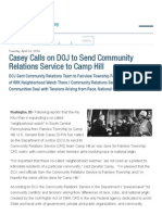 Casey Calls on DOJ to Send Community Relations Service to Camp Hill