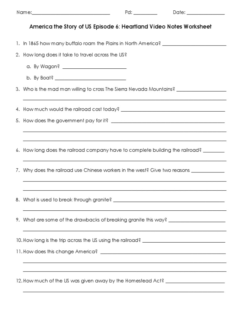 Worksheets America The Story Of Us Worksheets america the story of us heartland video worksheet