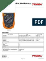 Tenma Digital Multimeter Specifications