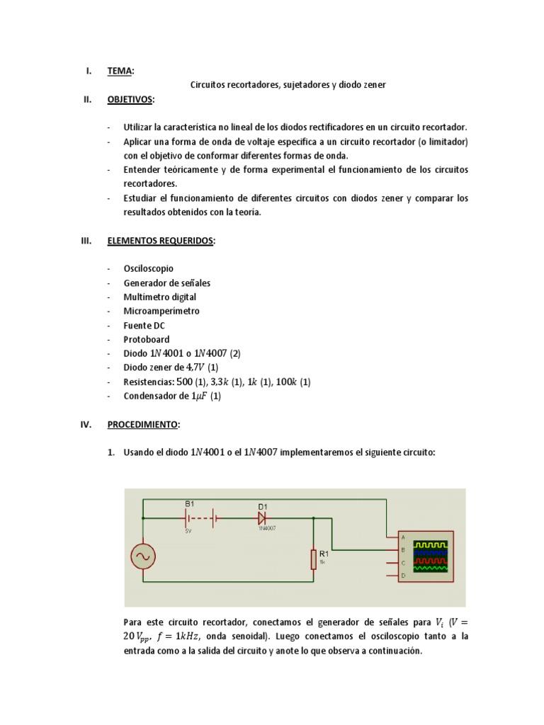 Circuito Zener : Informe 2 circuitos recortadores sujetadores y diodo zener