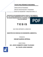 Propuesta de Ingeniería Básica Para El Tratamiento - Tesis Ipn