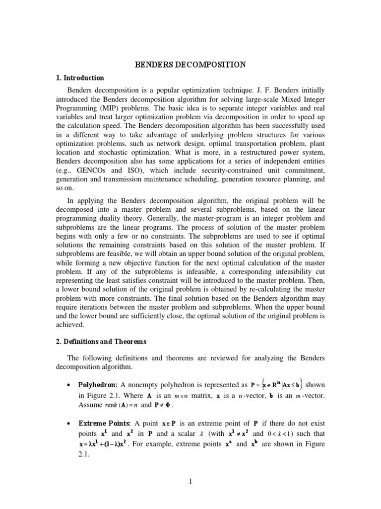 benders decomposition linear programming mathematical optimization