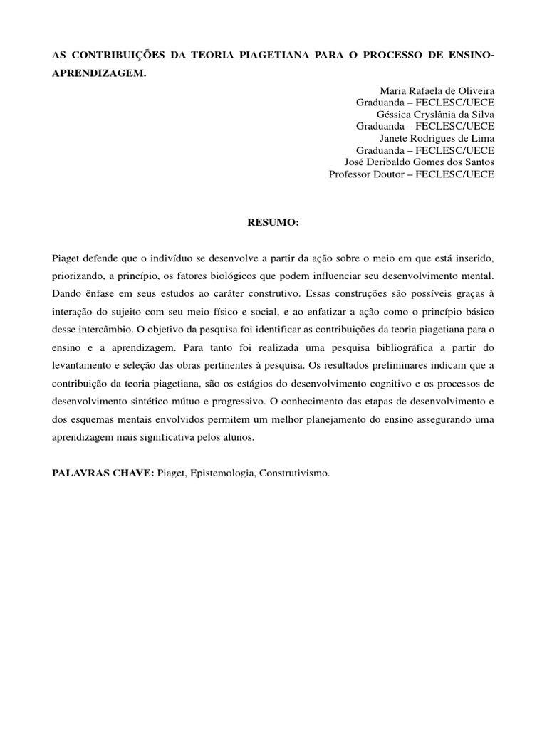 a8b36268415 As Contribuições Da Teoria Piagetiana Para o Processo de Ensino ...