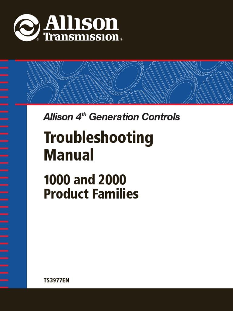 [NRIO_4796]   ALLISON TRANSMISSION_TS3977EN_Troubleshooting Manual 4th Gen 1000 & 2000  Prod Fam | Transmission (Mechanics) | Throttle | Allison 2000 Transmission Wiring Diagram |  | Scribd