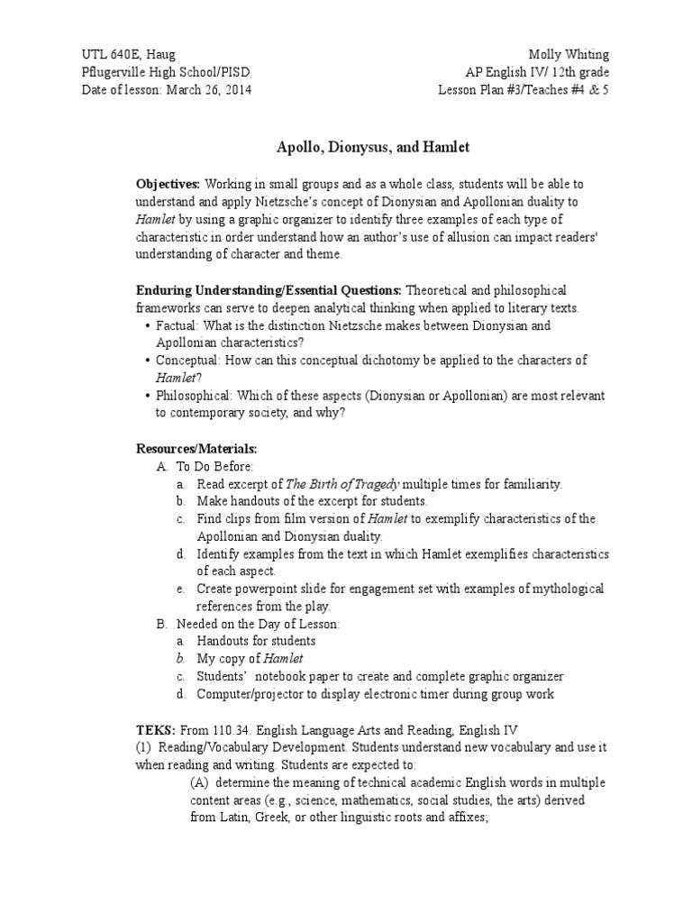 640 Lesson Plan 3 Hamlet Reading Comprehension