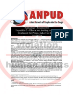 ANPUD Hepatitis C Position Paper – Education, Testing, Care and Treatment for People Who Use Drugs