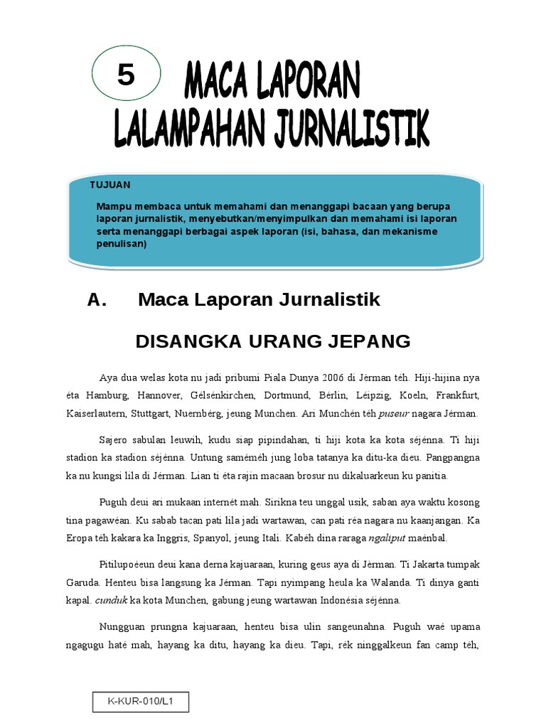 Contoh Laporan Jurnalistik Bahasa Sunda Dunia Sosial