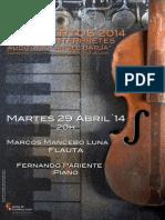 """MARCOS MANCEBO LUNA, FLAUTA - CICLO JÓVENES INTÉRPRETES 2014 - AUDITORIO """"ÁNGEL BARJA"""" CONSERVATORIO DE LEÓN"""