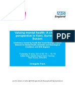 Delegate pack for Valuing Mental Health - A change of perspective in Kent, Surrey and Sussex