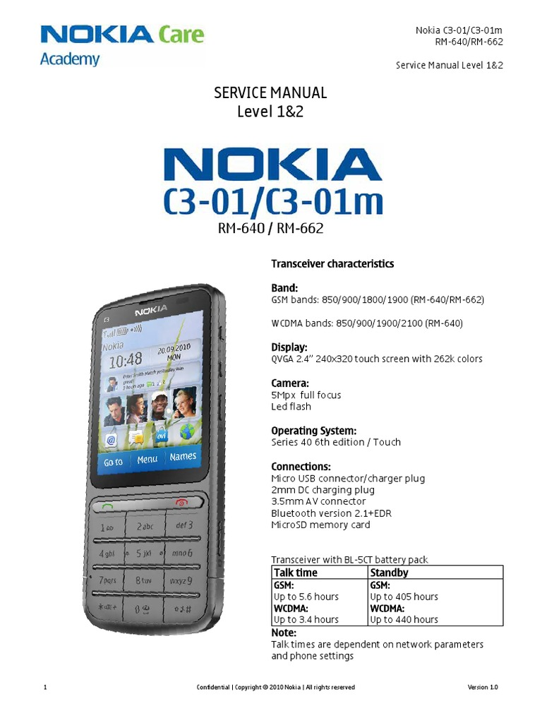 Nokia C3-0Nokia C3-01 Service Manual | Electrostatic Discharge | Battery  (Electricity)