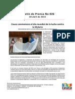 Boletín 026_ Cauca Conmemora El Día Mundial de La Lucha Contra La Malaria