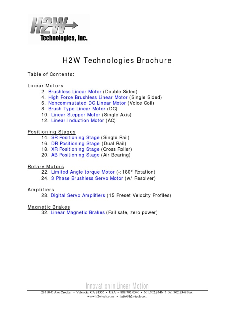 H2W Technologies Brochure | Inductor | Servomechanism