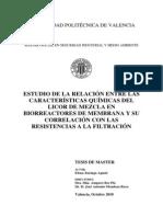 Estudio de La Relación Entre Las Caaracteristicas Quimicas Del Licor de Mezcla en MBR y Su Correlación Con Las Resistancias a La Filtración
