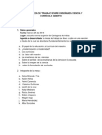 Relatoría Meza de Trabajo Sobre Enseñanza Ciencia y Currículo Abierto