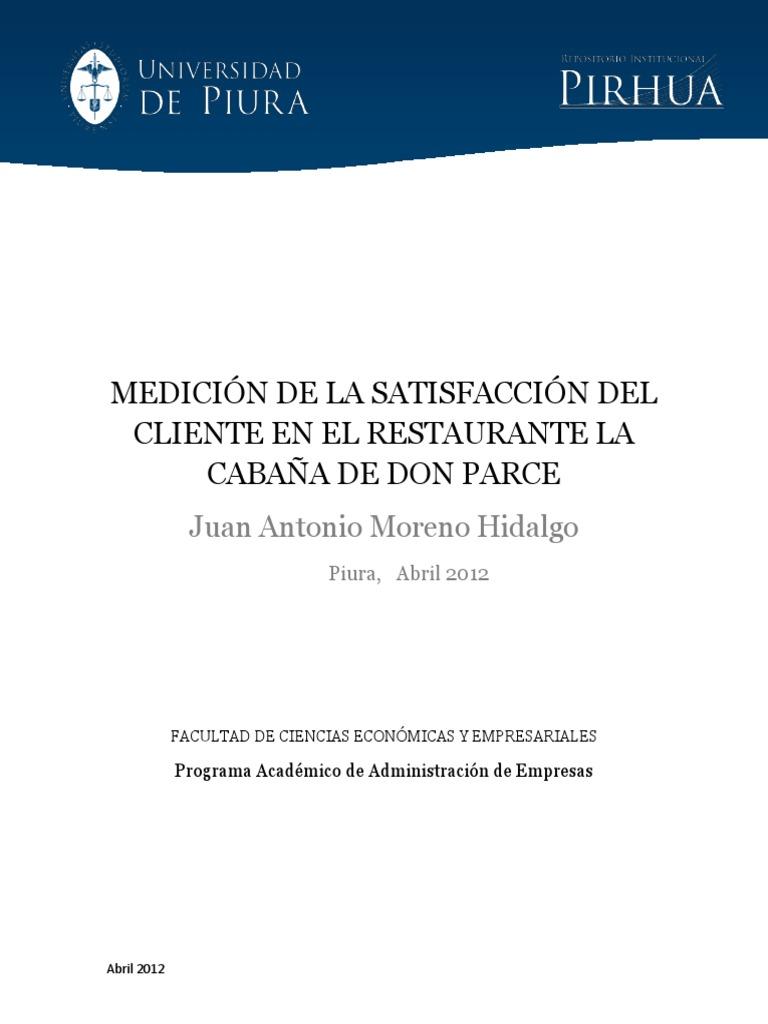 Medicion de La Satisfacción Del Cliente en El Restaurante La Cabaña ...