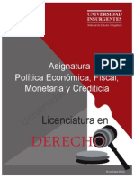 P01 Política Económica, Fiscal, Monetaria y Crediticia ME