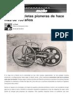 Las Motocicletas de Hace 100 Años
