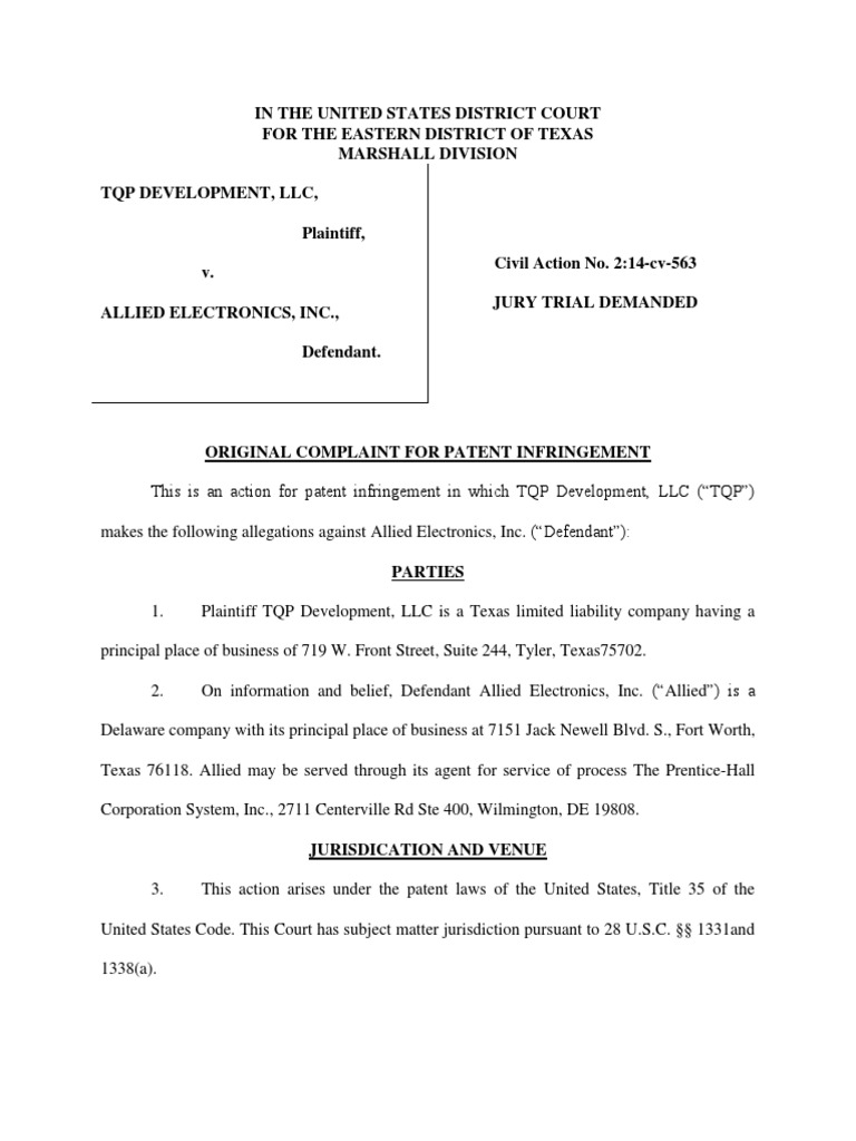 TQP Development v  Allied Electronics | Injunction | Key