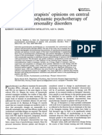 Experienced Therapists' Opinions on Central Issues in Psychodynamic Psychotherapy of Patients With Personality Disorders.