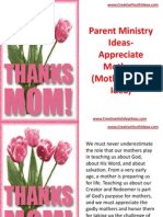 Parent Ministry Ideas - Appreciate Mothers (Mother's Day Idea)