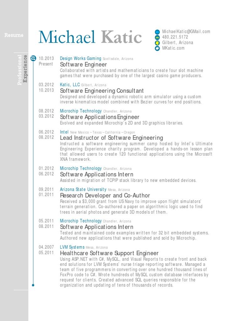 resume michael katic software engineer application software