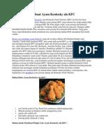 Resep Cara Membuat Ayam Kentucky Ala KFC