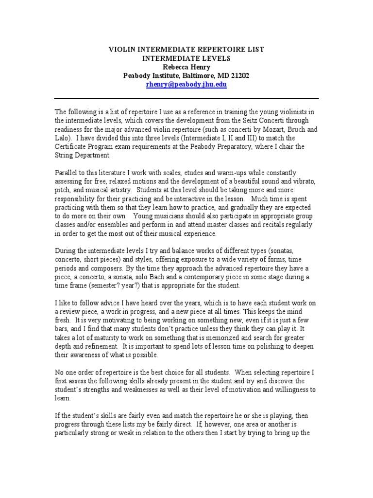 Intermediate Violin Rep List Annotated Rh | Concerto (70 views)