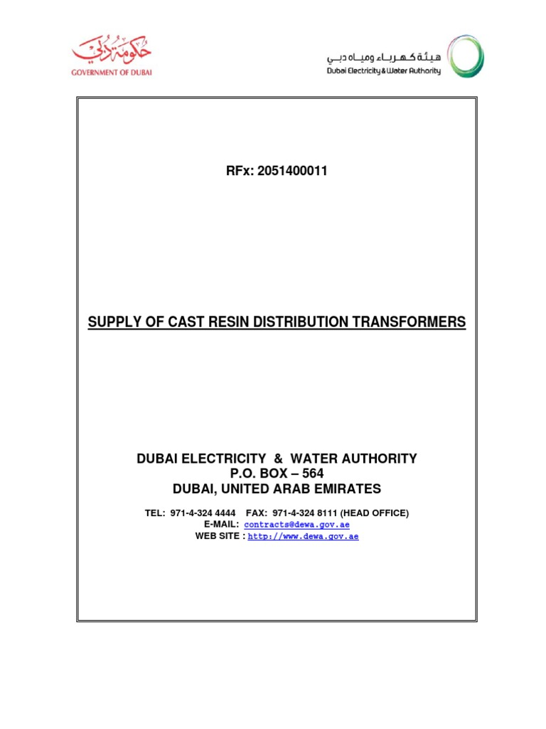 DEWA Dry Type Transformers specs | Specification (Technical