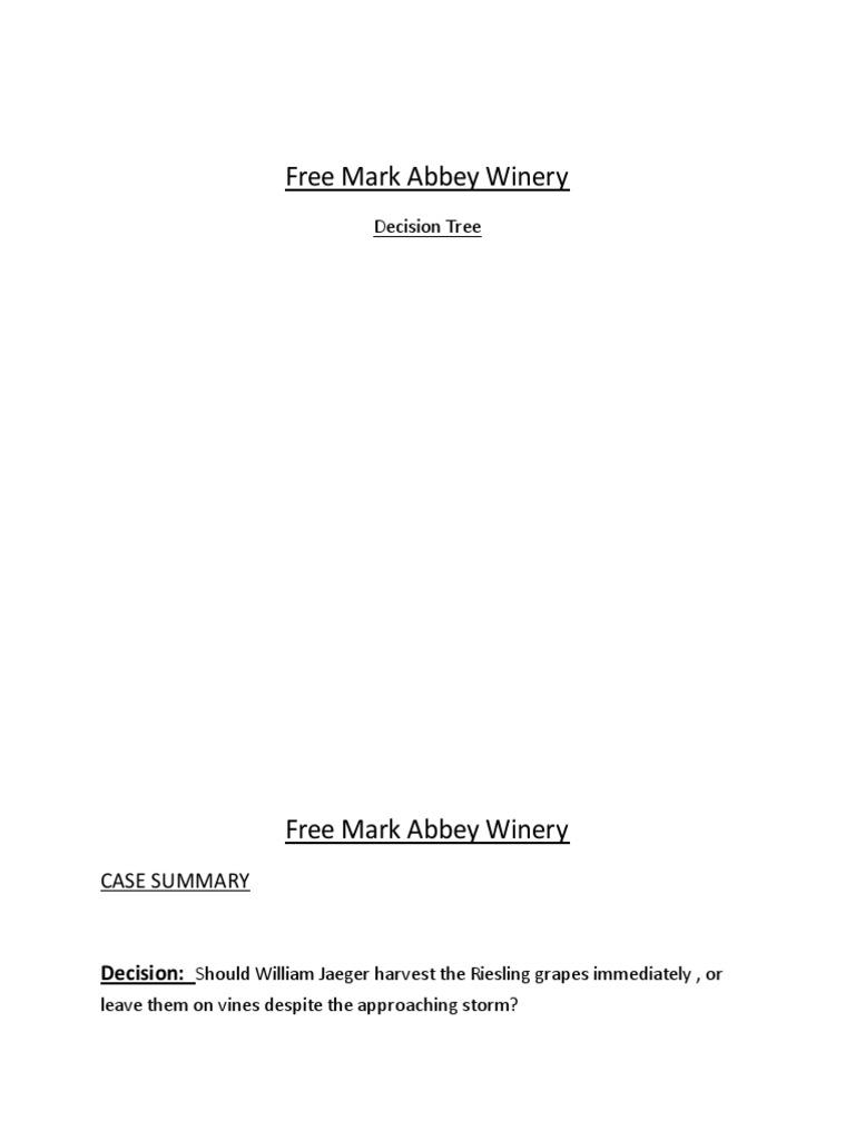 freemark abbey winery case study pdf