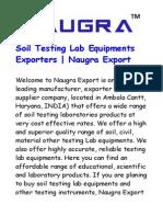 Soil Testing Lab Equipments Exporters – Naugra Export