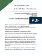 Ulster County Sheriff Paul Van Blarcum announces re-election bid