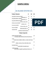 Hog Island Oyster SF Opening Sample Menu