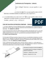 Lista de Exercícios de Fenômenos de Transportes - Mecânica Aplicada