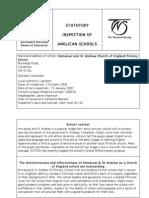 Christian Distinctiveness Inspection Report