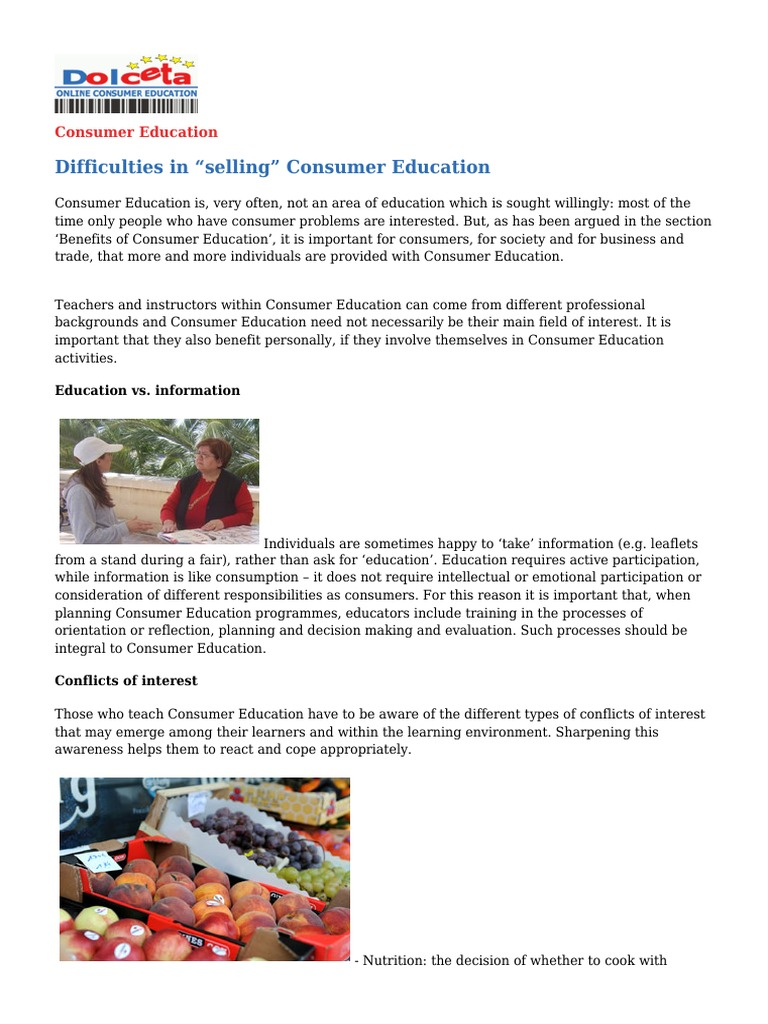 benefits of consumer education