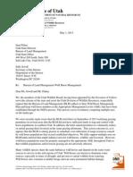 Utah State Wildlife Board's letter to the Bureau of Land Management regarding wild horse management