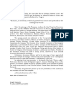"""Press Release - """"Romania, as laboratory of the dialogue between science and spirituality in the contemporary world"""""""