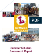 2013 Summer Scholars Assessment Report