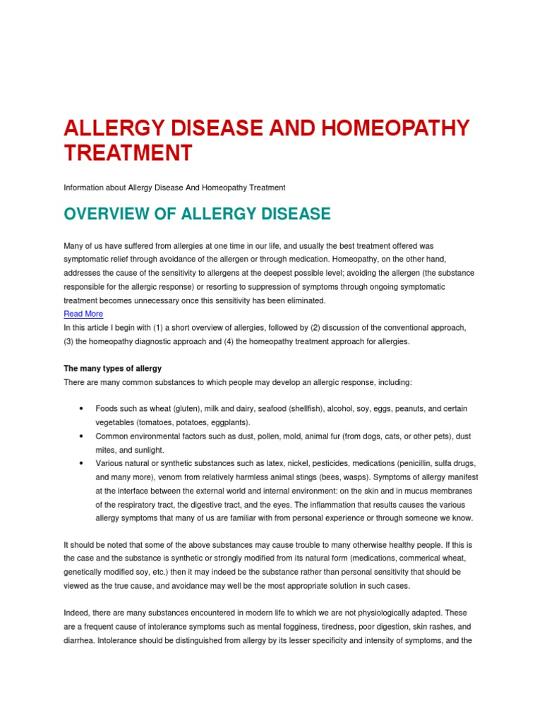 Allergy Disease and Homeopathy Treatment   Allergen   Allergy