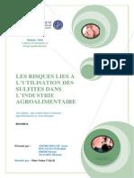 LES RISQUES LIES A L'UTILISATION DES SULFITES DANS L'INDUSTRIE AGROALIMENTAIRE