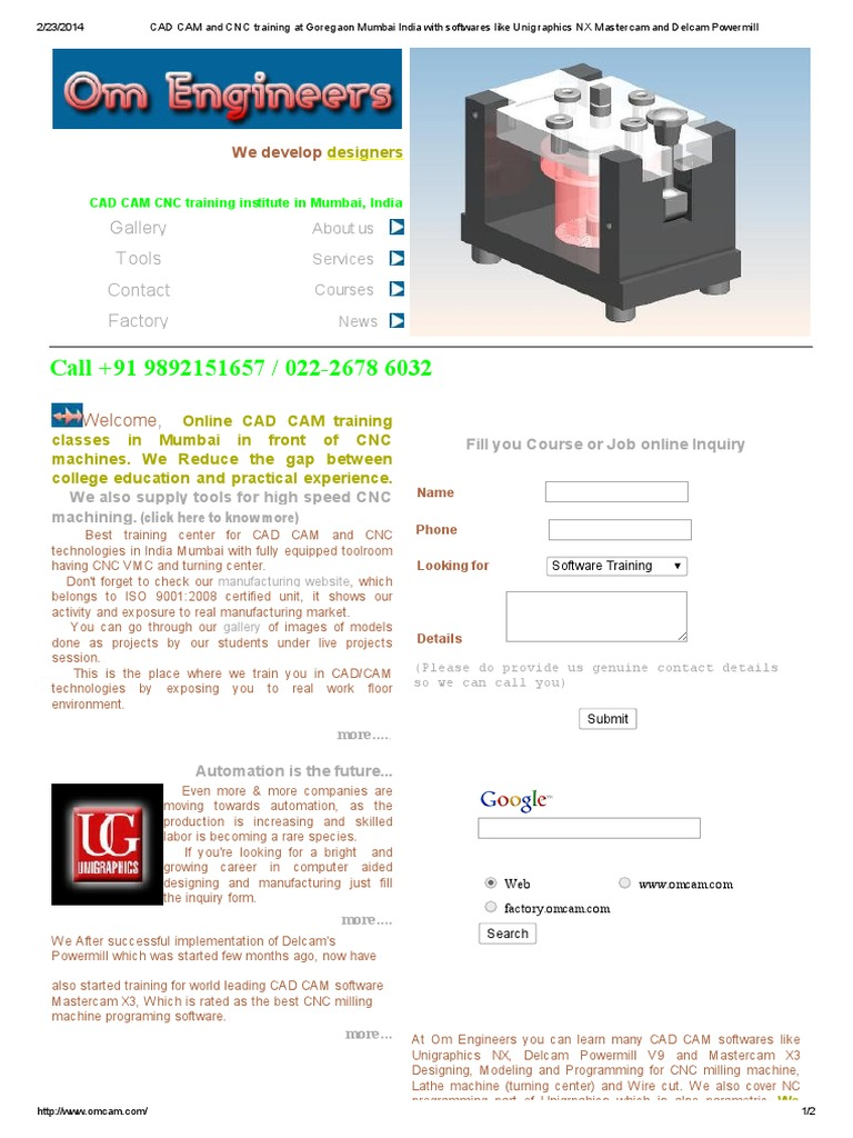 CAD CAM and CNC Training at Goregaon Mumbai India With