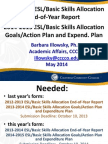 2013-2014 ESL/Basic Skills Allocation End-of-Year Report, 2014-2015 ESL/Basic Skills Allocation Goals/Action Plan and Expend.