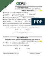 201.02.10 DPU.recife-PE Ficha Inscricao XII Processo Seletivo Estagio
