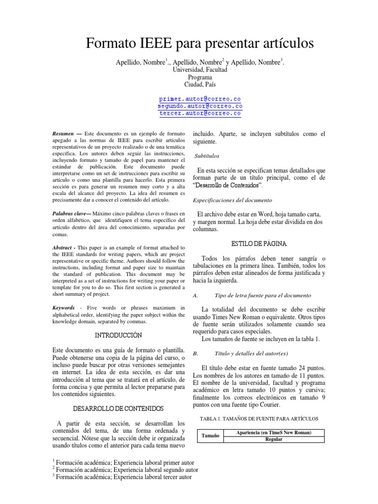 Atractivo Ieee Plantilla De Informe Adorno - Colección De Plantillas ...