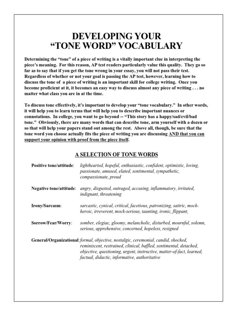 TONE Words AP Language   Advanced Placement   Test